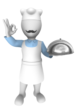chef 3d: 3d cooking chef with tray. Ok gesture. Stock Photo