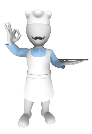 3d chef: 3d chef with empty plate. Ok gesture.