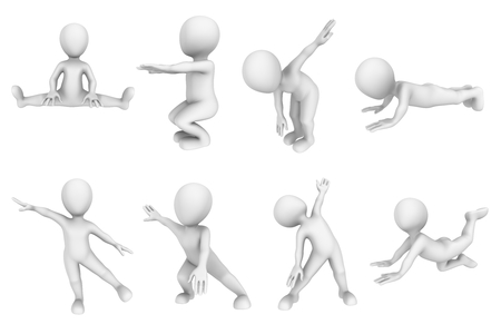 small people: 3d small people on fitness training. Stock Photo