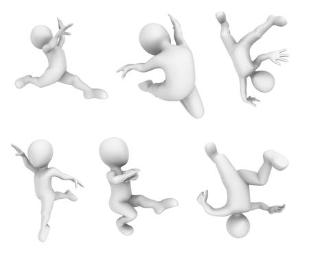3d dance: 3d small people dance.