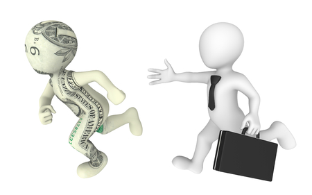 pursuit: 3d businessman pursues dollar cartoon character.