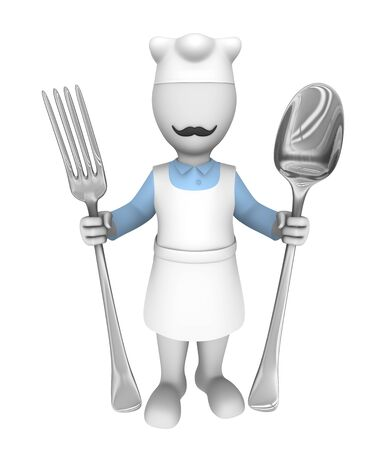 3d chef: 3d cooking chef with fork and spoon