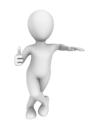 thumbs up: 3d abstract human shows thumbs up gesture.