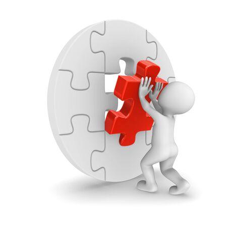assembling: 3d man assembling final red puzzle piece. Success concept.