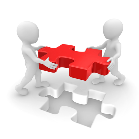 People working with red puzzle. 3d rendered illustration.