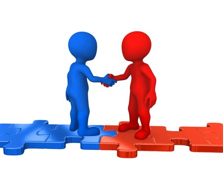Small people on puzzles, handshake. 3d rendered illustration.