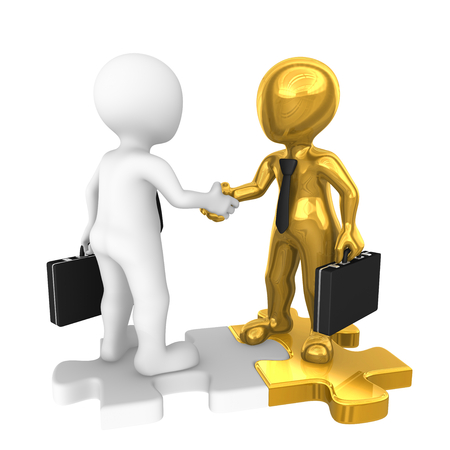 People shaking hands on golden puzzle. 3d rendered illustration. Stock Photo