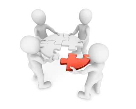 teamwork: 3d small people with red puzzle in hands. Teamwork concept.