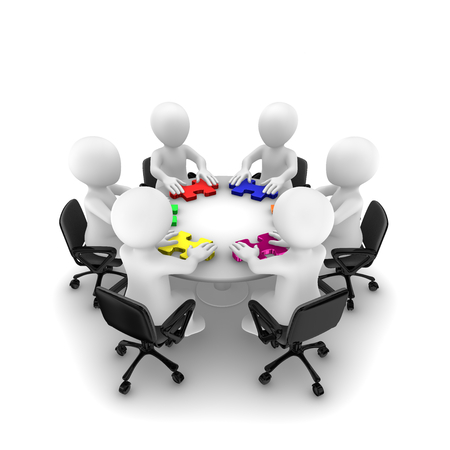 Business people with colored jigsaw puzzle, teamwork concept. 3d rendered illustration. Stock Photo
