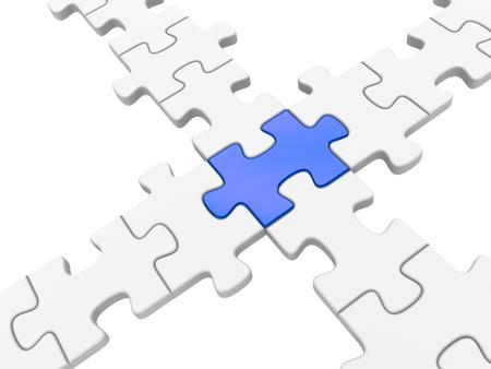 bridging: Puzzle connection. 3d rendered illustration.