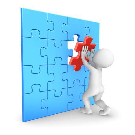 assembling: White man assembling last puzzle piece. 3D rendered illustration.
