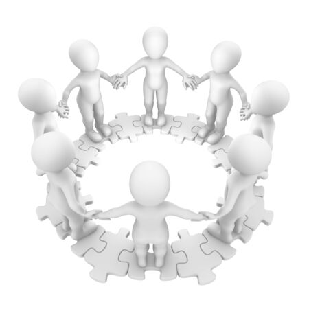 connect people: 3d people standing on circle puzzle.