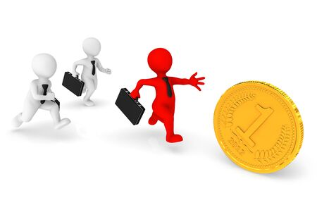 pursuing: Business people runs, pursuing a gold coin.