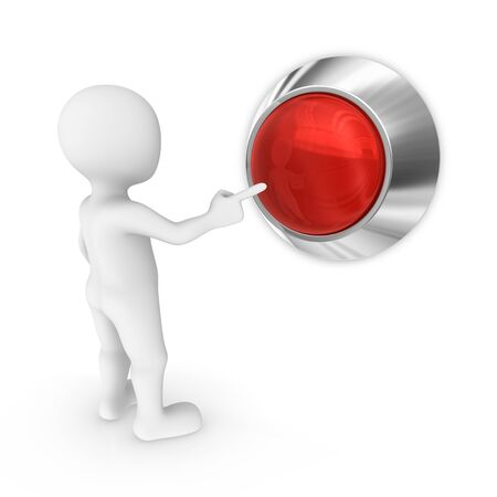 3d man presses the blank red button. Stock Photo