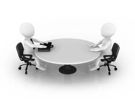 3D-kleine mensen zitten aan de ronde tafel. Zakenman en klant. Stockfoto