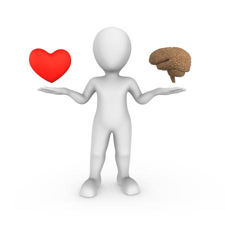 3D-blanke man met hersenen en hart. Keuze concept. Stockfoto - 92719804