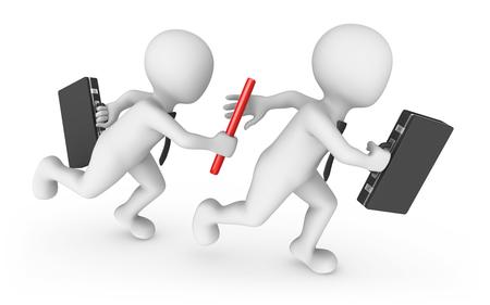 3d bedrijfsmensen met knuppel. Teamwerk concept.