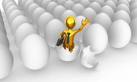 The golden businessman was born from egg.