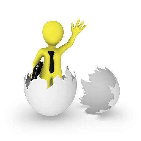 3d businessman was born from egg.