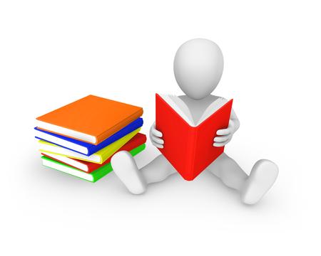 3d persoon met met gekleurde boeken lezen