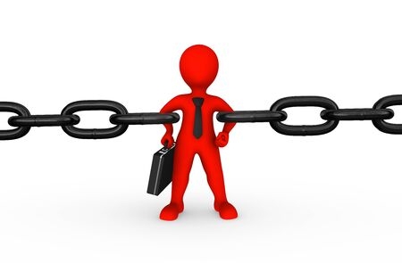 3d strong red businessman as chain link 免版税图像