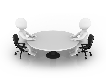 3d small people sitting at round table