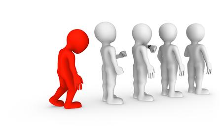 De trieste rode man staat in een rij.