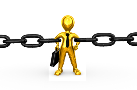 3d strong golden businessman as chain link Stock Photo