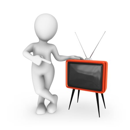3d white man with red retro tv Stock Photo
