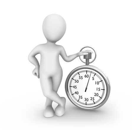 3d white man with stopwatch Stock Photo