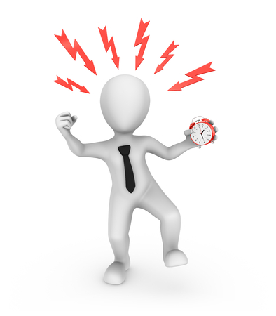 3d angry businessman with red alarm clock. Office stress concept.