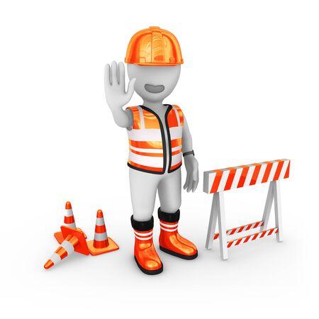 3d builder shows stop gesture, site under construction Stock Photo