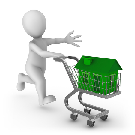 3d white man pushing a shopping cart with green house