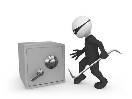 3d small people. Criminal vs bank safe... Thief!
