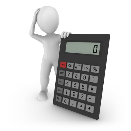 3d rendered white human with the big calculator. 3d rendered illustration.