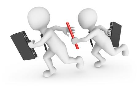 Hombres de negocios 3d con batuta. Concepto de trabajo en equipo. Ilustración procesada 3D con gente pequeña.