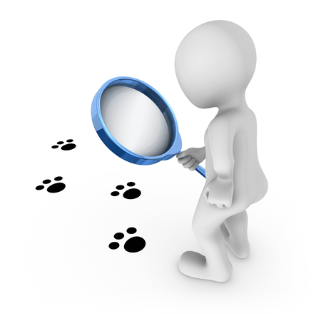 3d man with magnifying glass looks at animal traces on a floor. 3d rendered illustration.