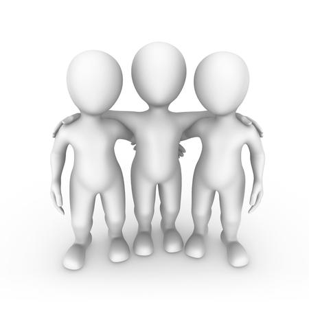 Red leader with his team. Teamwork concept. 3d rendered illustration.