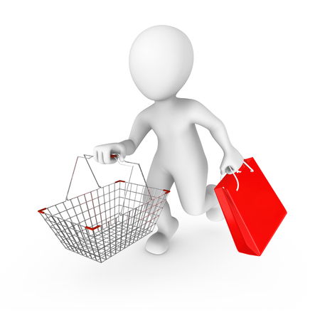 3d man with a shopping cart on sale.  3d rendered illustration with small people.