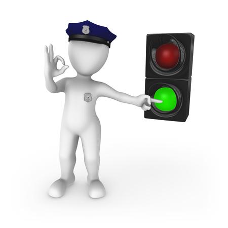 Green traffic light - go! 3d rendered illustration.