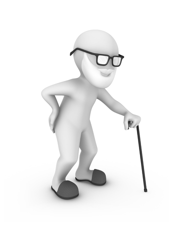 3d old man with cane and waist pain... 3d rendered illustration with small people. Stockfoto