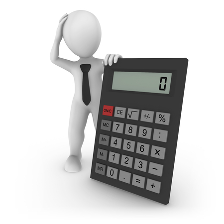 3d rendered white businessman with the big calculator. 3d rendered illustration.