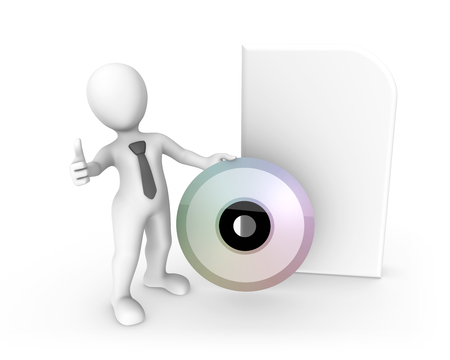3d rendered white human with a big cd box. 3d rendered illustration.