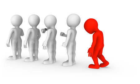 The sad red man stands in a queue. 3d rendered illustration with small people. Stockfoto