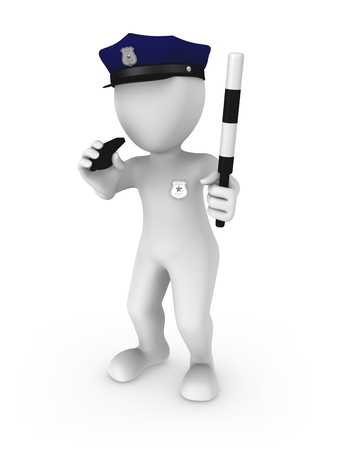 The policeman whistles in a red whistle. 3d rendered illustration.