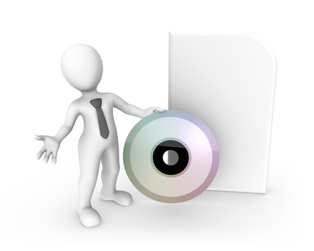 3d rendered white human with a big cd box. 3d rendered illustration. Archivio Fotografico - 106119112