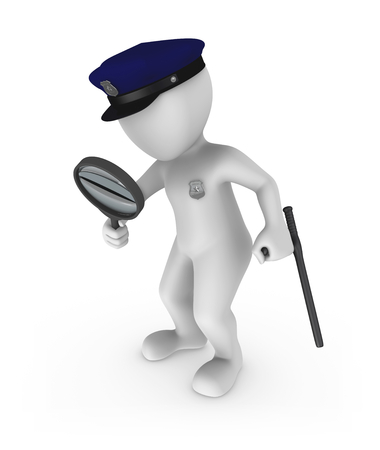 The policeman investigates a crime with a magnifying glass. 3d rendered illustration. Banco de Imagens - 106119160
