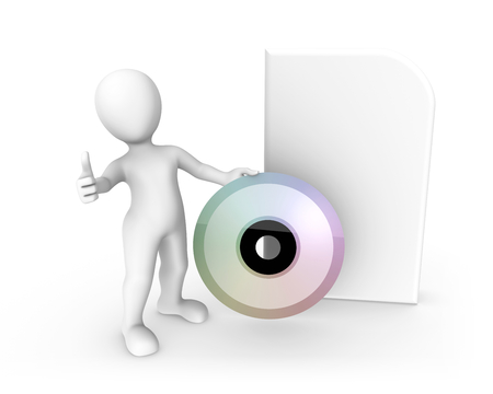 3d rendered white human with a big cd box. 3d rendered illustration. Archivio Fotografico