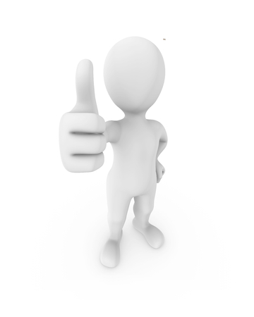 3d white man shows thumb up. 3d rendered illustration.