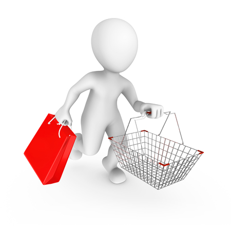 3d man with a shopping cart on sale. 3d rendered illustration.